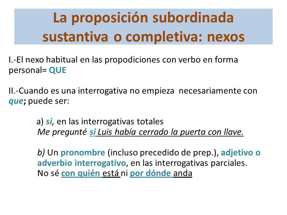 La proposición subordinada sustantiva o completiva: nexos