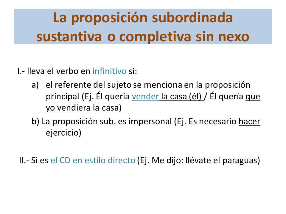 La proposición subordinada sustantiva o completiva sin nexo