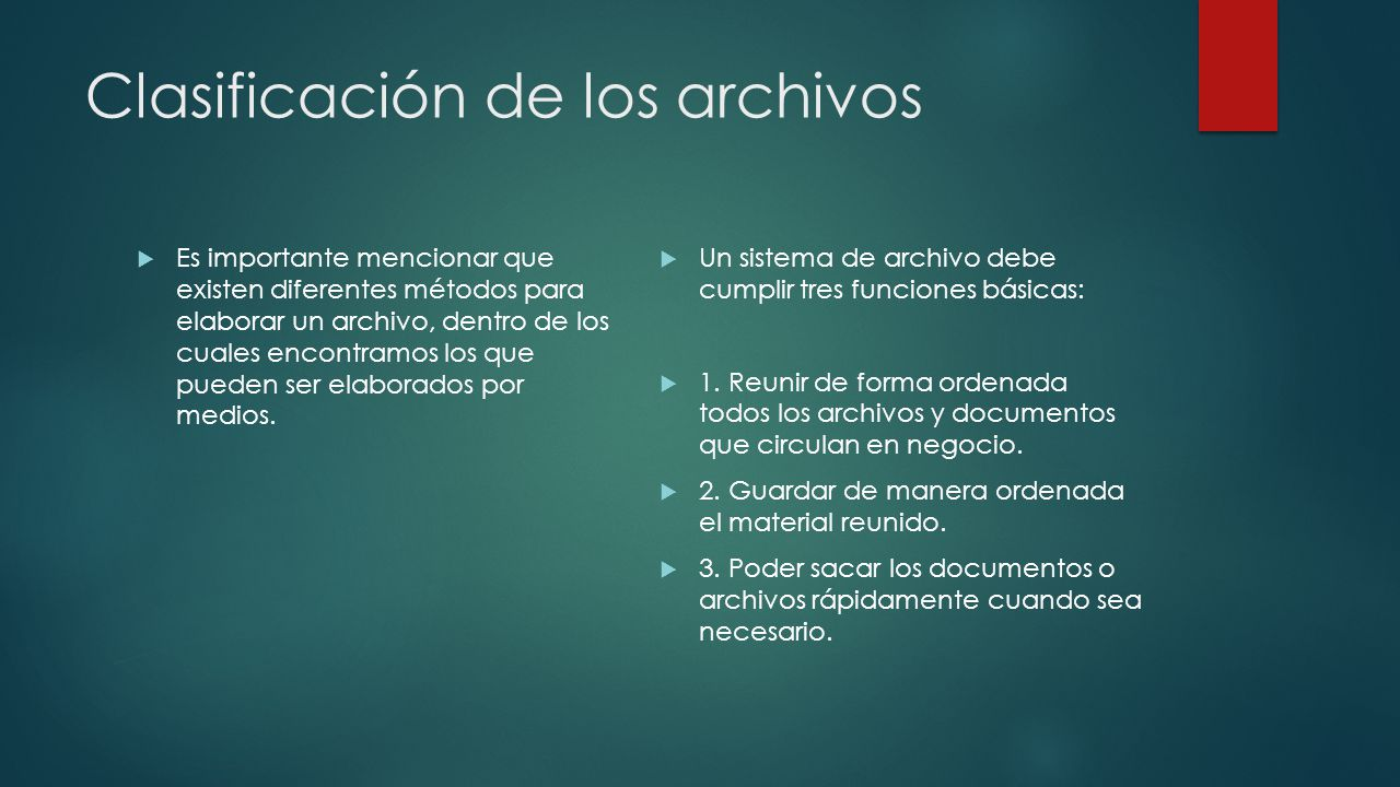 Clasificación de los archivos