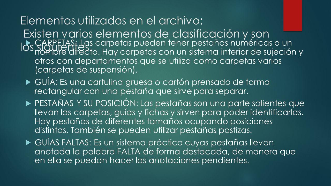 Elementos utilizados en el archivo: Existen varios elementos de clasificación y son los siguientes: