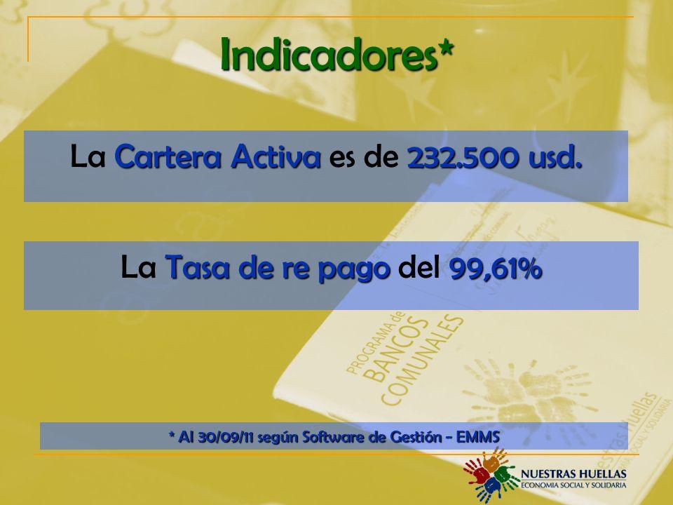 Indicadores* La Cartera Activa es de 232.500 usd.
