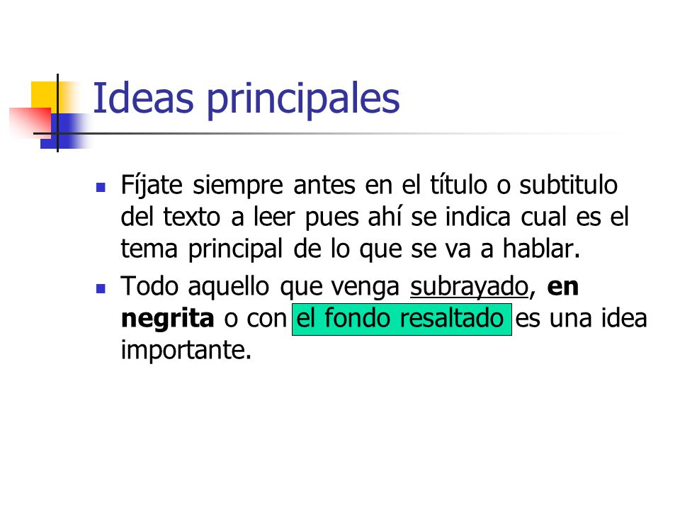 Ideas principales