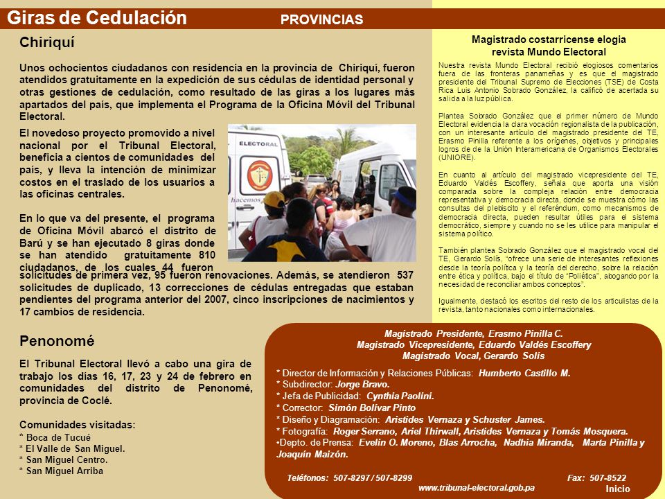 Giras de Cedulación Chiriquí Penonomé PROVINCIAS