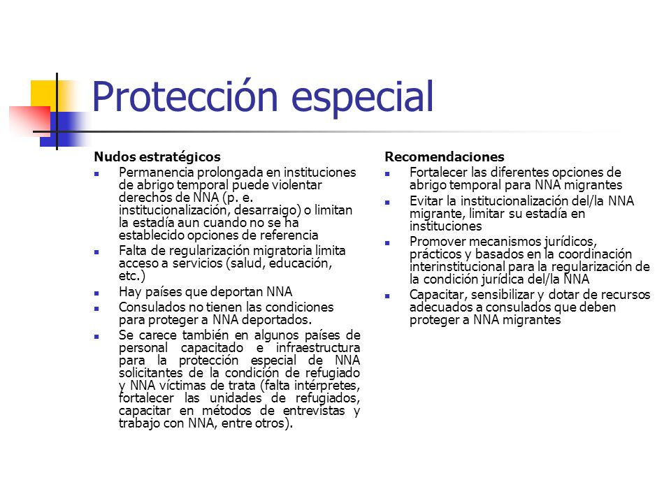 Protección especial Nudos estratégicos