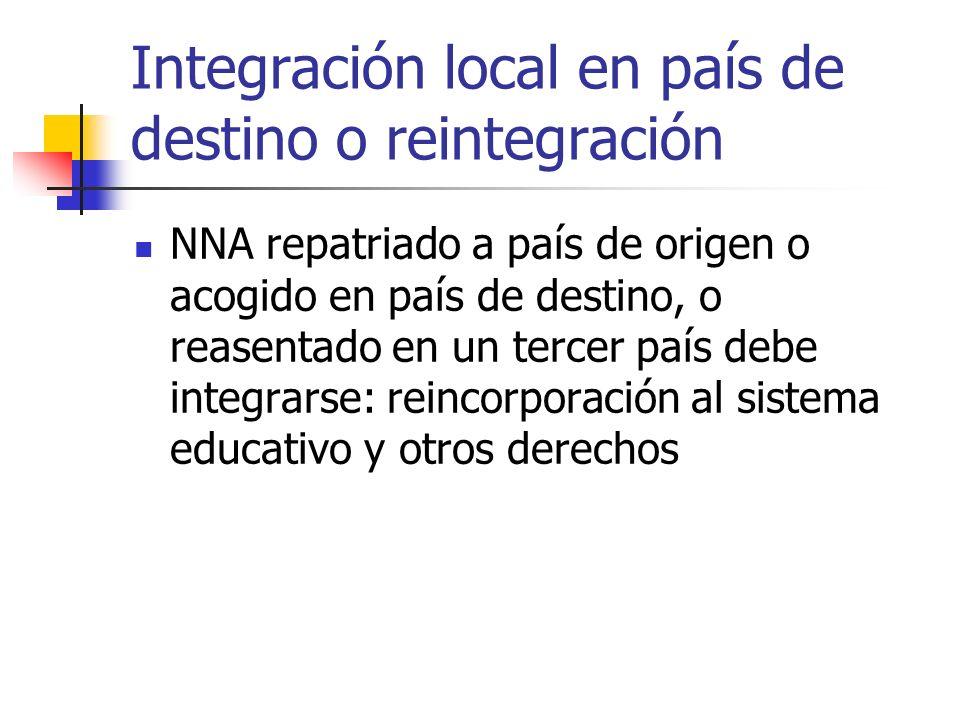 Integración local en país de destino o reintegración
