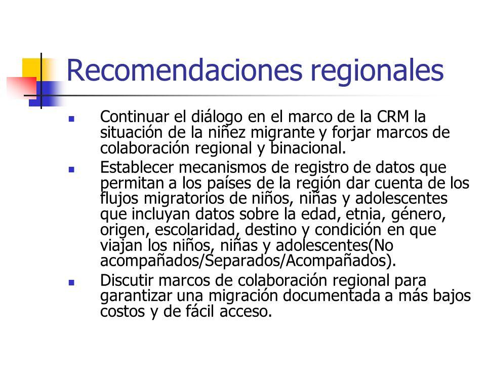 Recomendaciones regionales