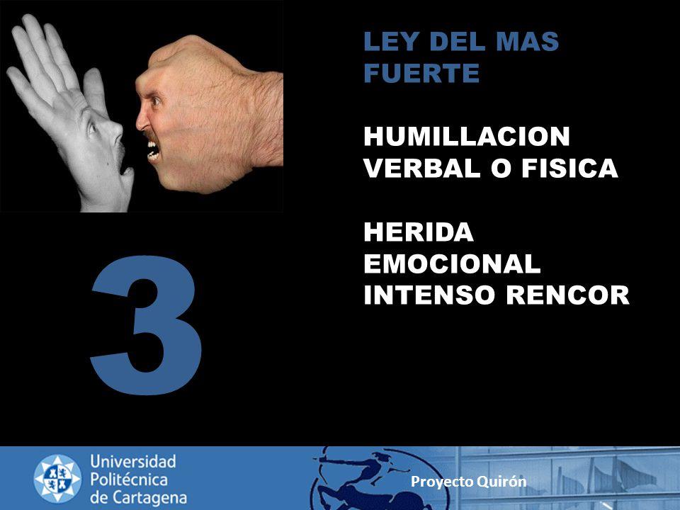3 LEY DEL MAS FUERTE HUMILLACION VERBAL O FISICA HERIDA EMOCIONAL