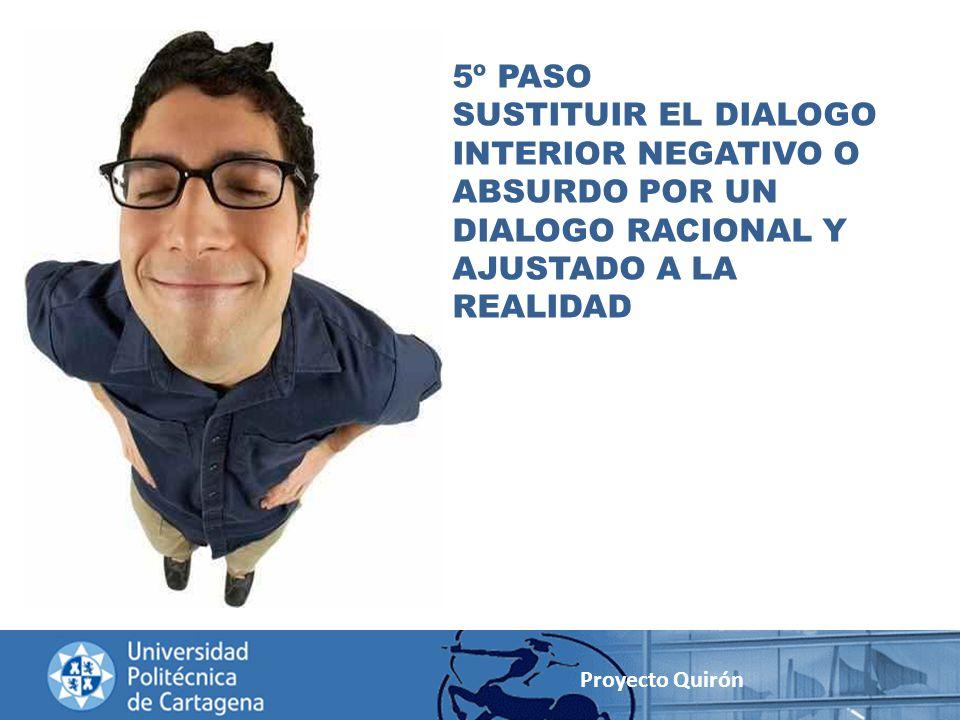5º PASO SUSTITUIR EL DIALOGO INTERIOR NEGATIVO O ABSURDO POR UN DIALOGO RACIONAL Y AJUSTADO A LA REALIDAD.