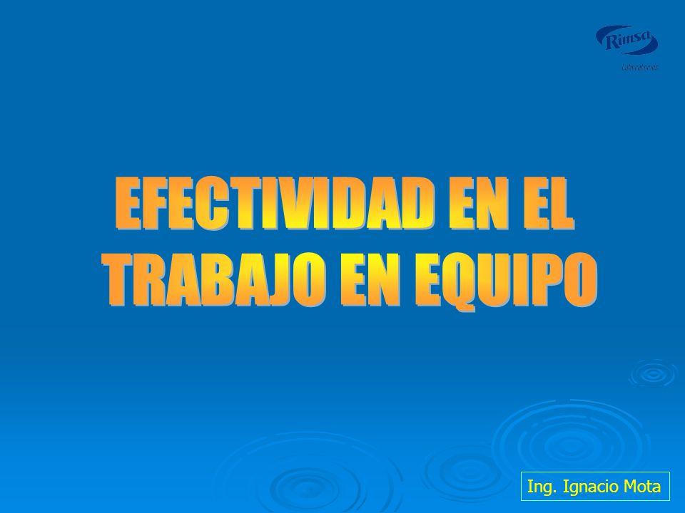 EFECTIVIDAD EN EL TRABAJO EN EQUIPO Ing. Ignacio Mota