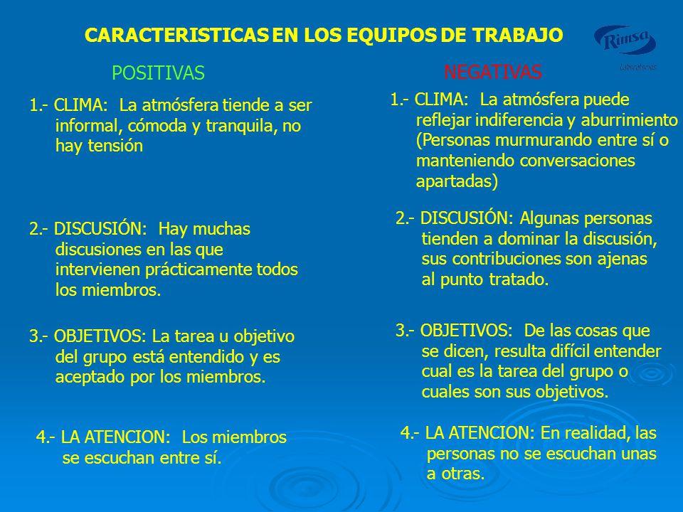 CARACTERISTICAS EN LOS EQUIPOS DE TRABAJO