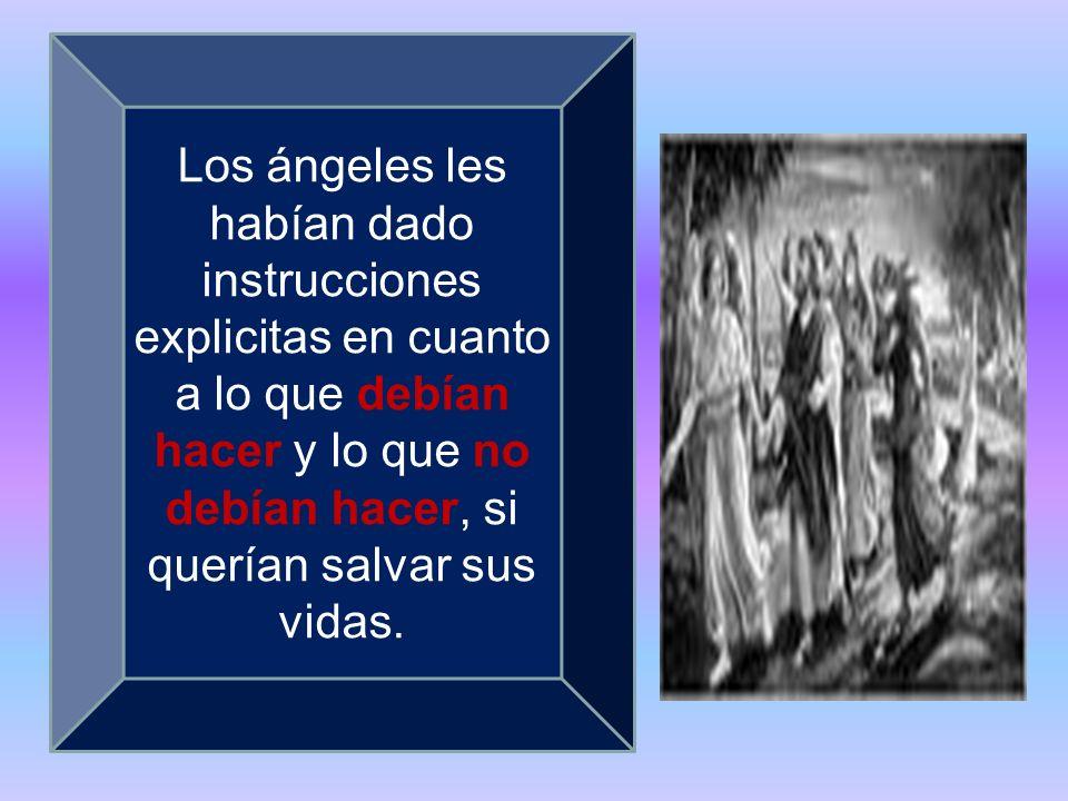 Los ángeles les habían dado instrucciones explicitas en cuanto a lo que debían hacer y lo que no debían hacer, si querían salvar sus vidas.