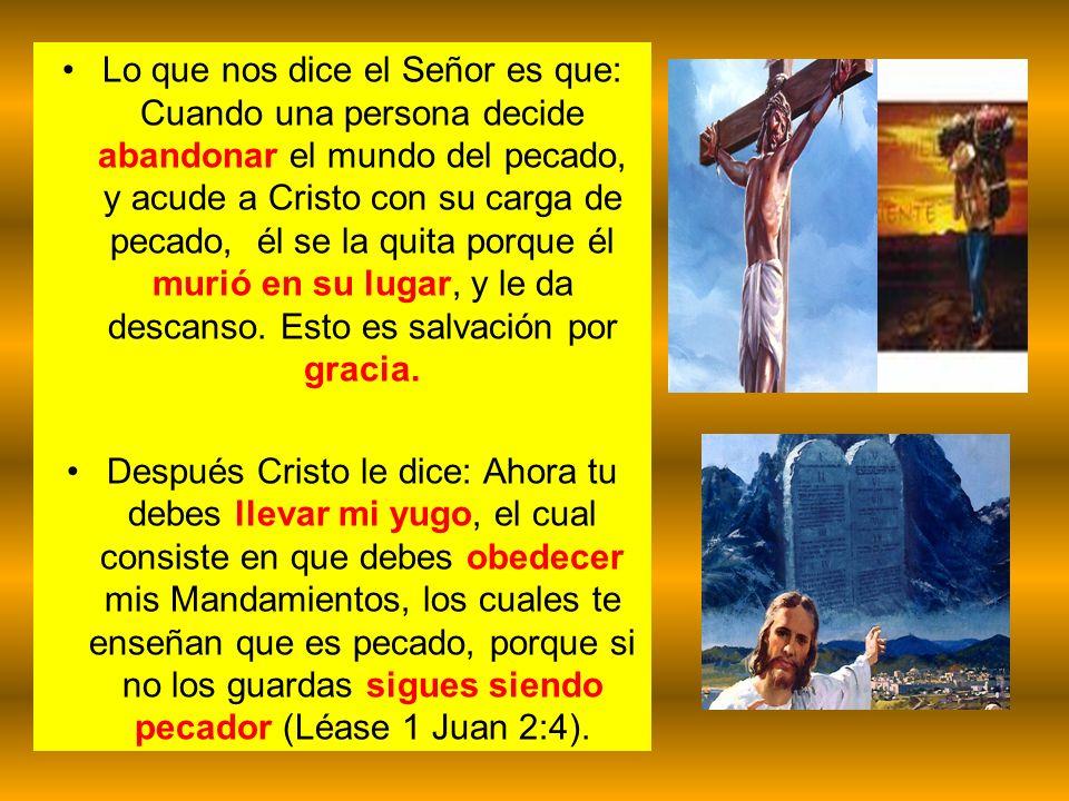 Lo que nos dice el Señor es que: Cuando una persona decide abandonar el mundo del pecado, y acude a Cristo con su carga de pecado, él se la quita porque él murió en su lugar, y le da descanso. Esto es salvación por gracia.