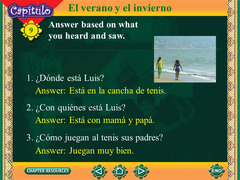 El verano y el invierno Answer based on what you heard and saw.