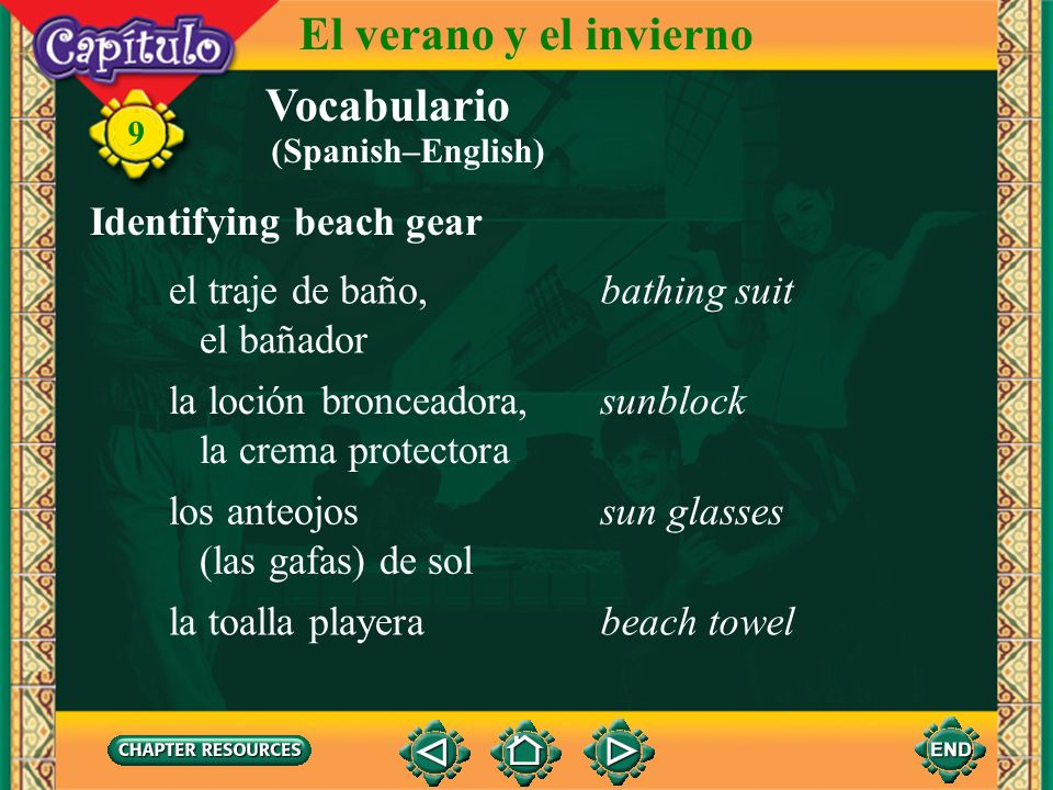 El verano y el invierno Vocabulario Identifying beach gear