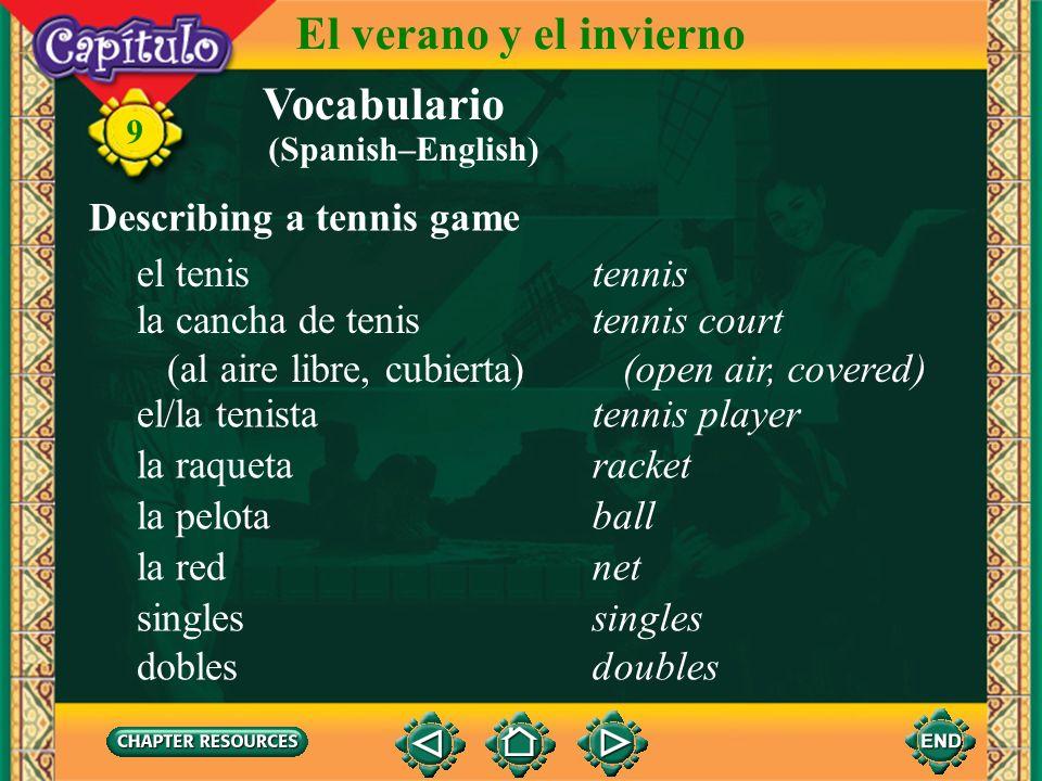 El verano y el invierno Vocabulario Describing a tennis game el tenis