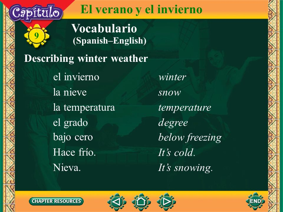 El verano y el invierno Vocabulario Describing winter weather