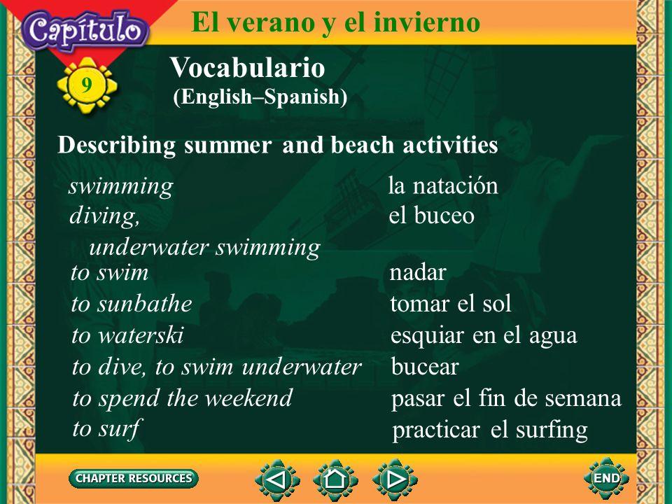 El verano y el invierno Vocabulario