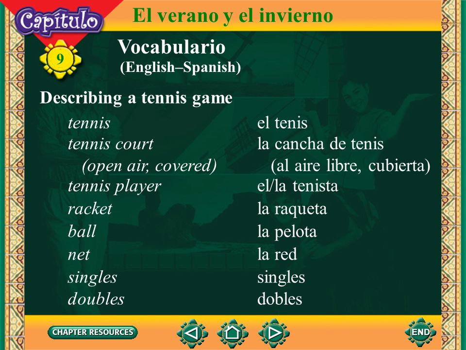 El verano y el invierno Vocabulario Describing a tennis game tennis