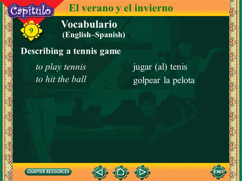 El verano y el invierno Vocabulario Describing a tennis game