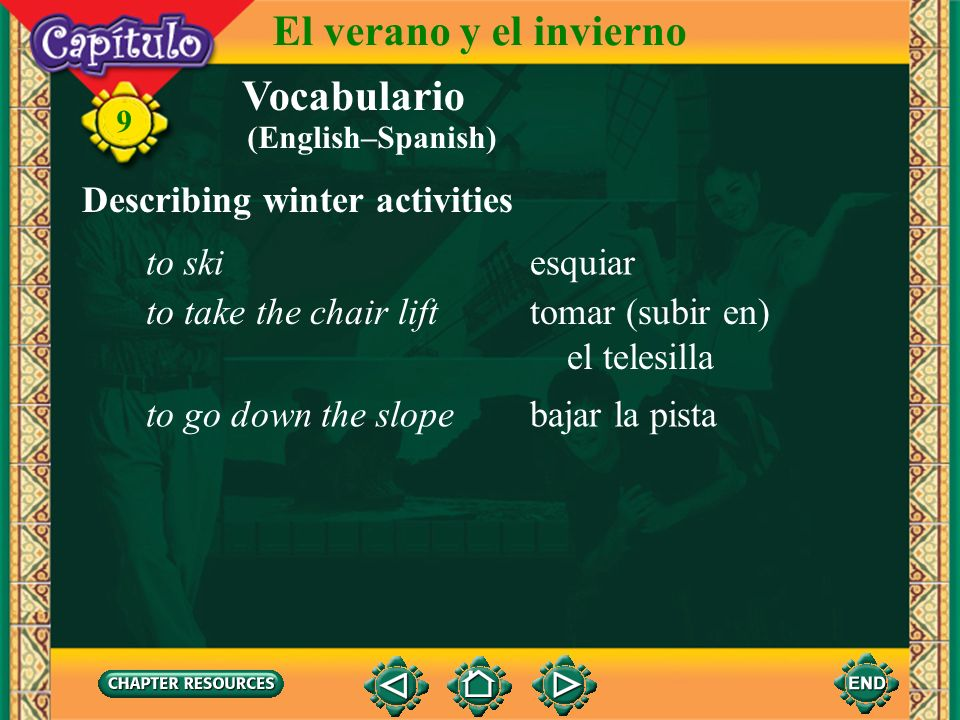 El verano y el invierno Vocabulario Describing winter activities