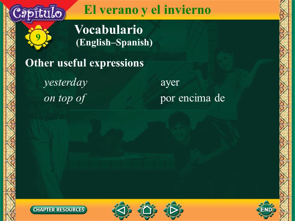 El verano y el invierno Vocabulario Other useful expressions yesterday