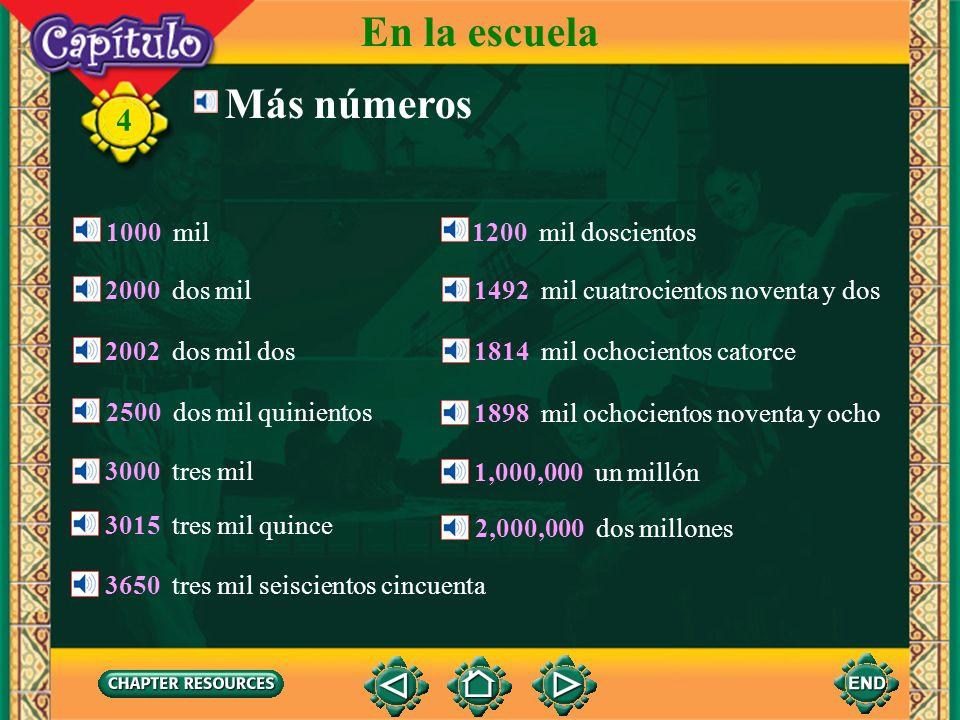 En la escuela Más números 4 1000 mil 1200 mil doscientos 2000 dos mil