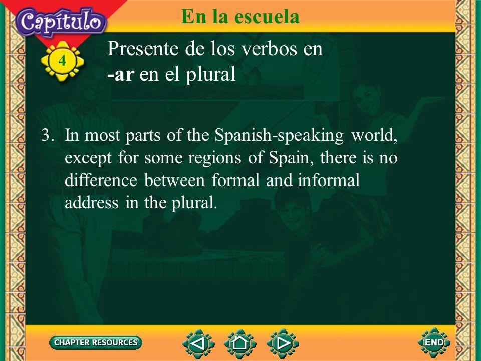 Presente de los verbos en -ar en el plural