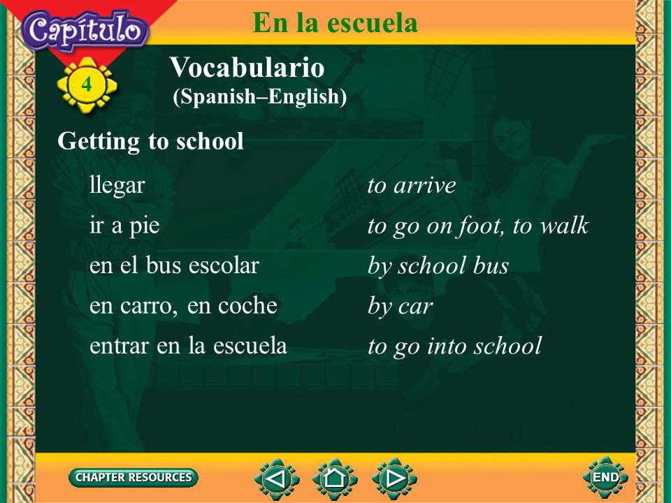 En la escuela Vocabulario Getting to school llegar to arrive ir a pie