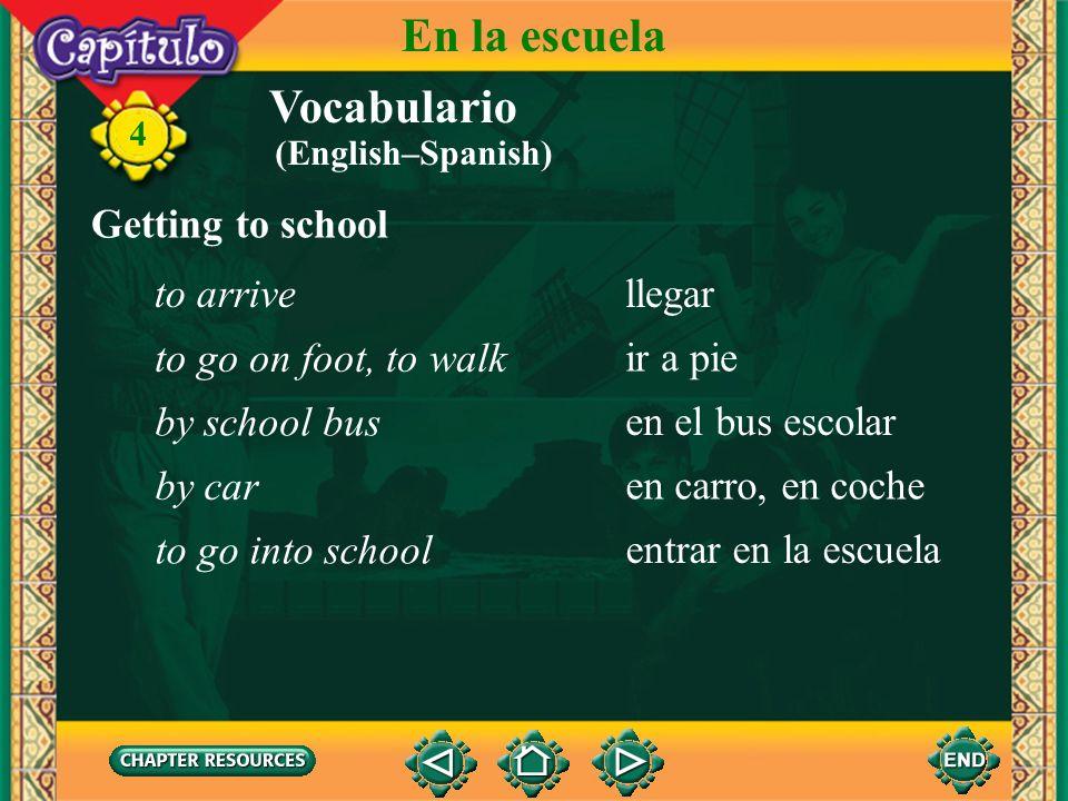 En la escuela Vocabulario Getting to school to arrive llegar