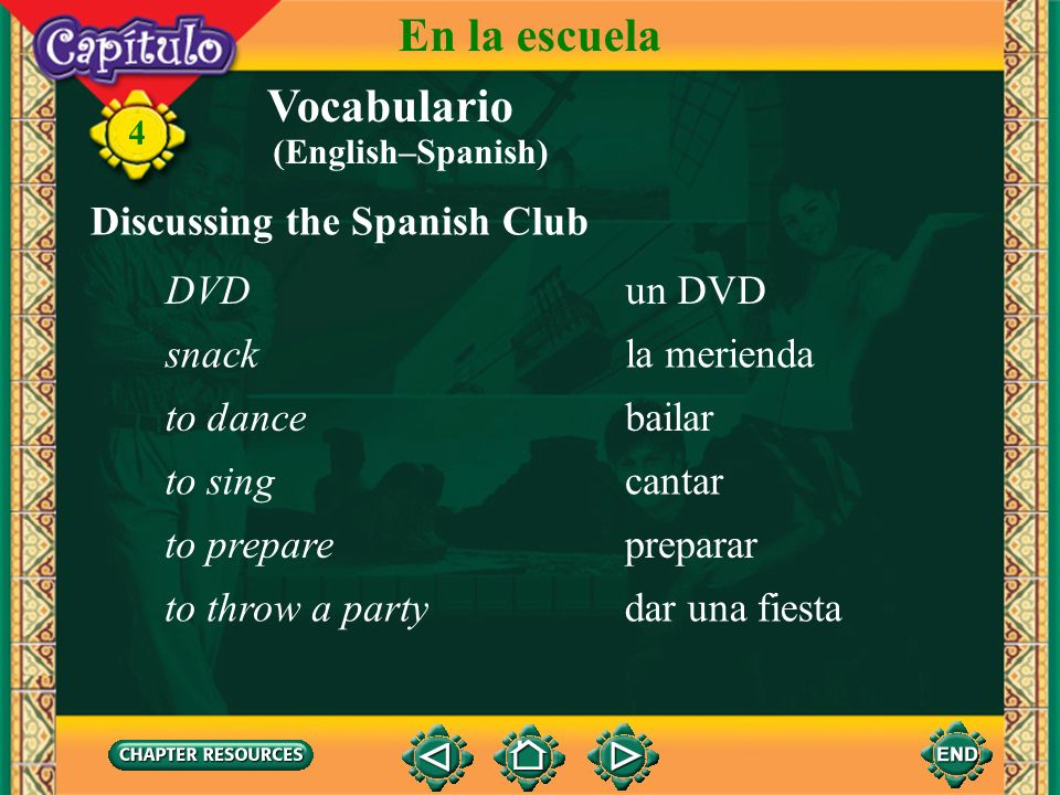 En la escuela Vocabulario Discussing the Spanish Club DVD un DVD snack