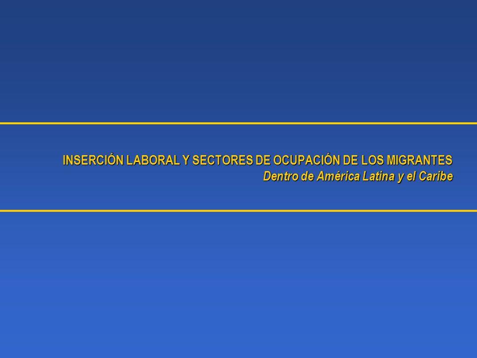 INSERCIÓN LABORAL Y SECTORES DE OCUPACIÓN DE LOS MIGRANTES Dentro de América Latina y el Caribe