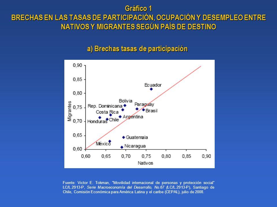 a) Brechas tasas de participación