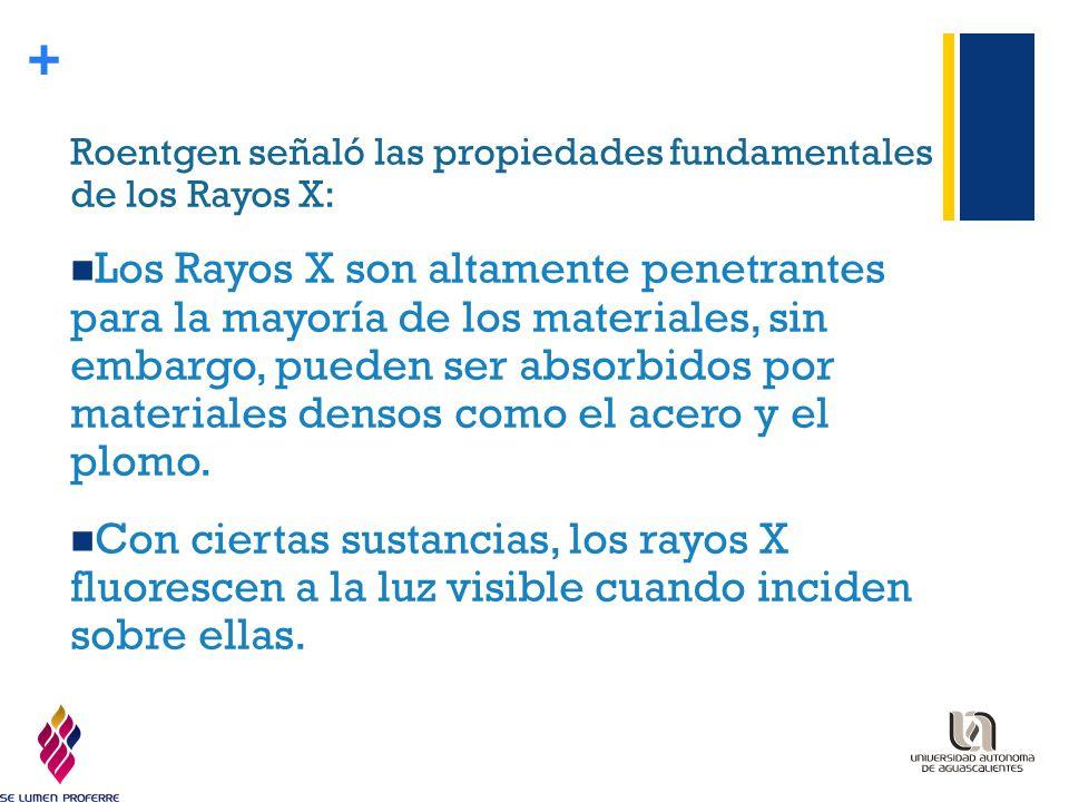Roentgen señaló las propiedades fundamentales de los Rayos X: