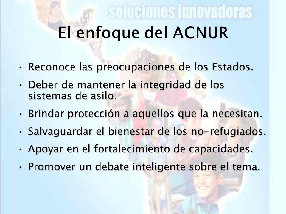 El enfoque del ACNUR Reconoce las preocupaciones de los Estados.