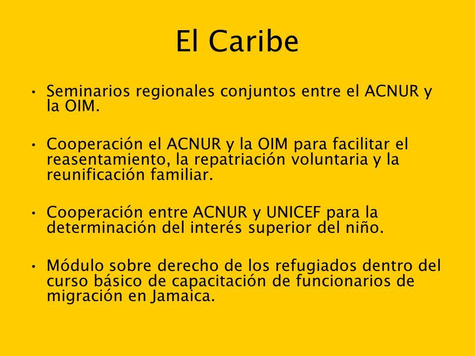El Caribe Seminarios regionales conjuntos entre el ACNUR y la OIM.