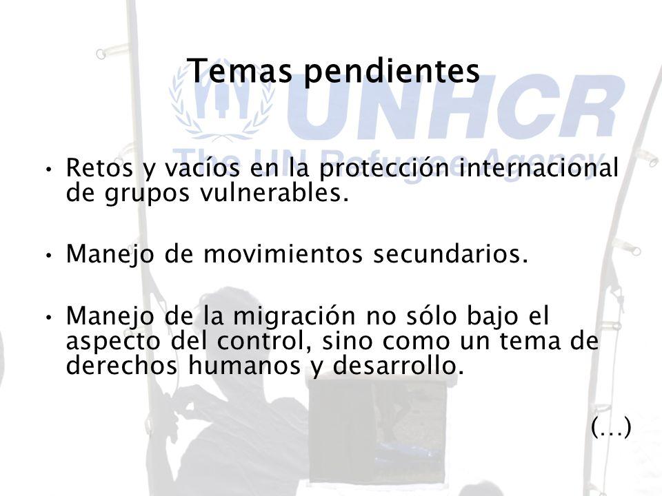 Temas pendientes Retos y vacíos en la protección internacional de grupos vulnerables. Manejo de movimientos secundarios.