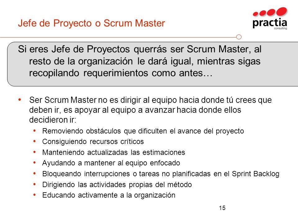 Jefe de Proyecto o Scrum Master