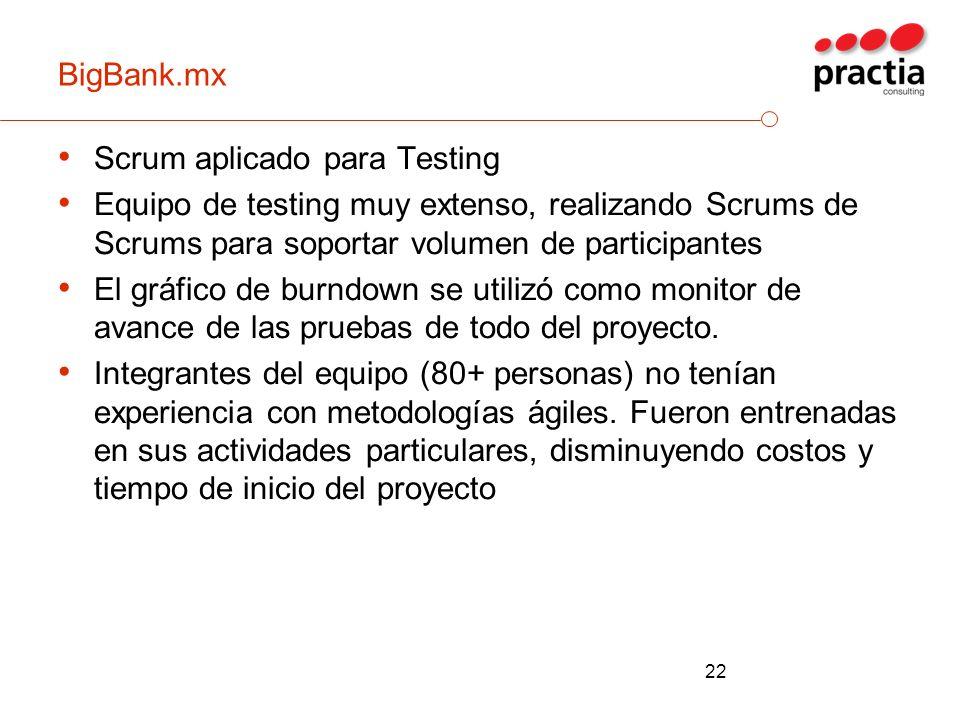 BigBank.mx Scrum aplicado para Testing. Equipo de testing muy extenso, realizando Scrums de Scrums para soportar volumen de participantes.