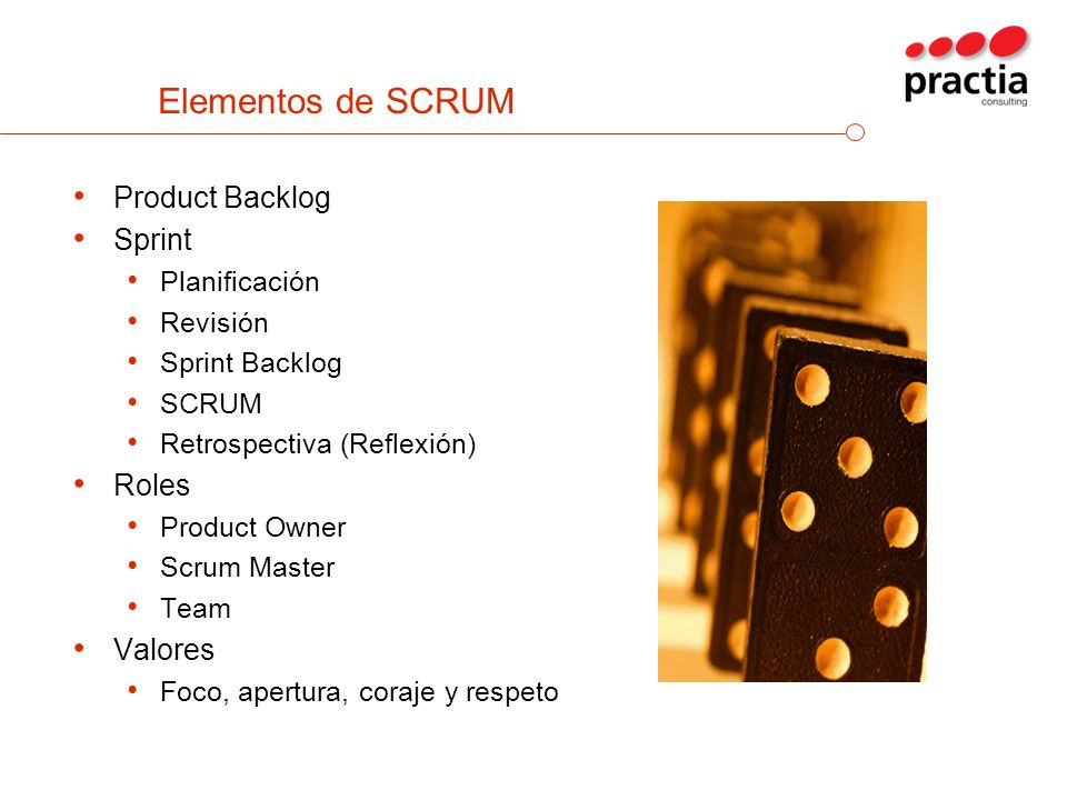 Elementos de SCRUM Product Backlog Sprint Roles Valores Planificación