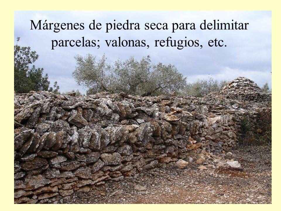 Márgenes de piedra seca para delimitar parcelas; valonas, refugios, etc.