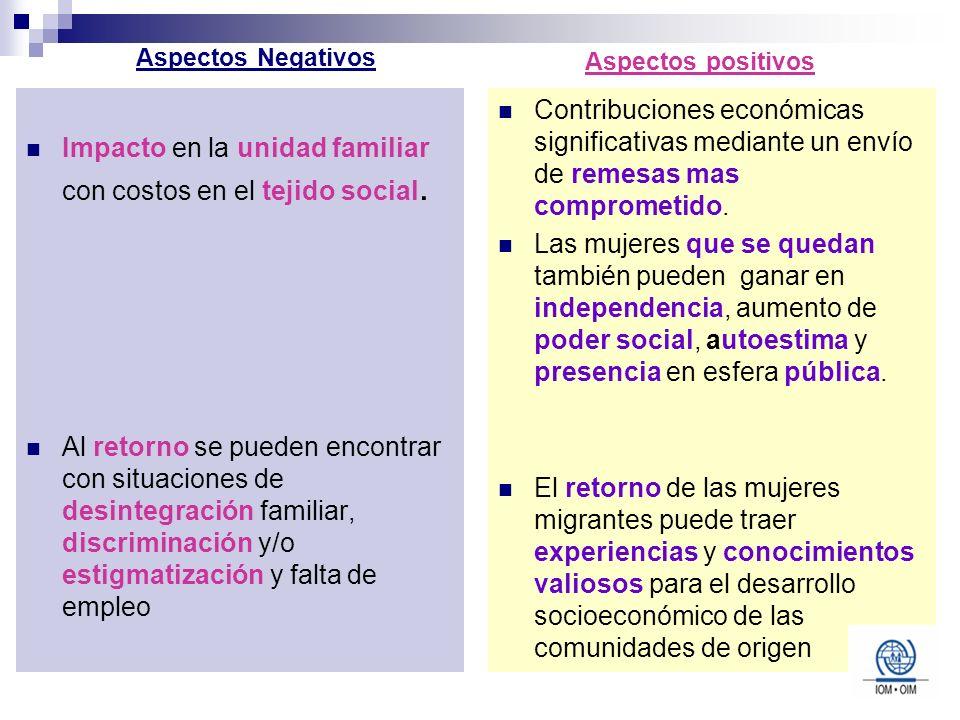 Impacto en la unidad familiar con costos en el tejido social.