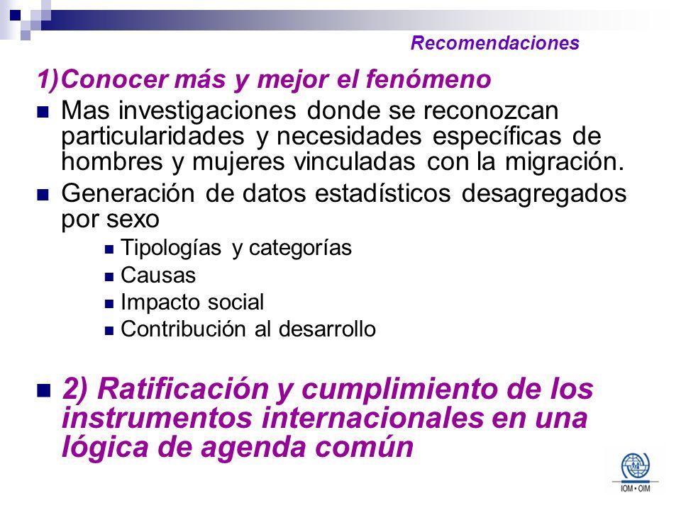 Recomendaciones 1)Conocer más y mejor el fenómeno.