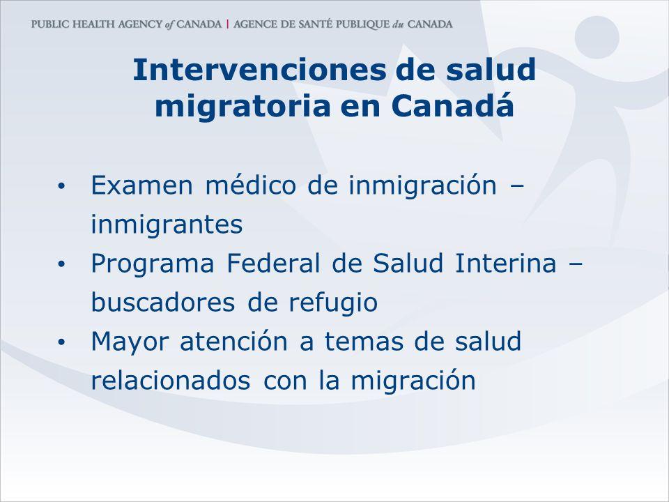 Intervenciones de salud migratoria en Canadá