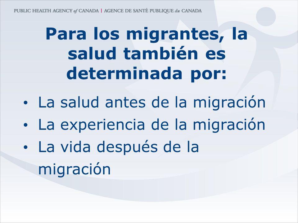 Para los migrantes, la salud también es determinada por: