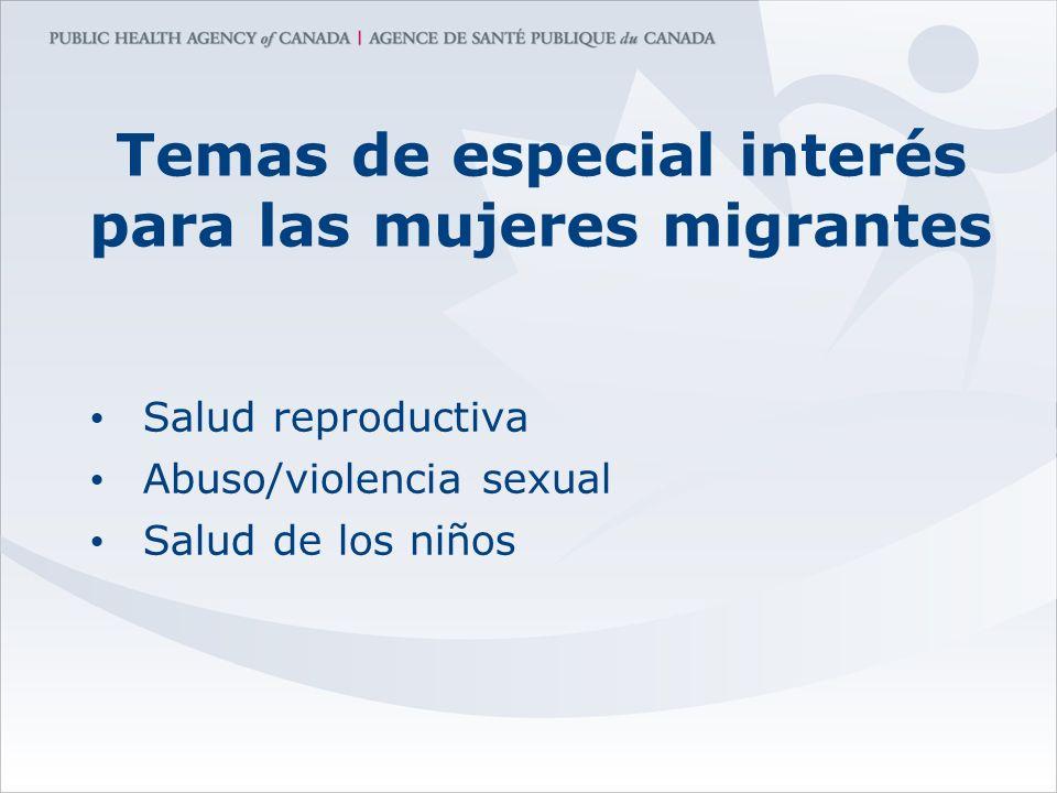 Temas de especial interés para las mujeres migrantes