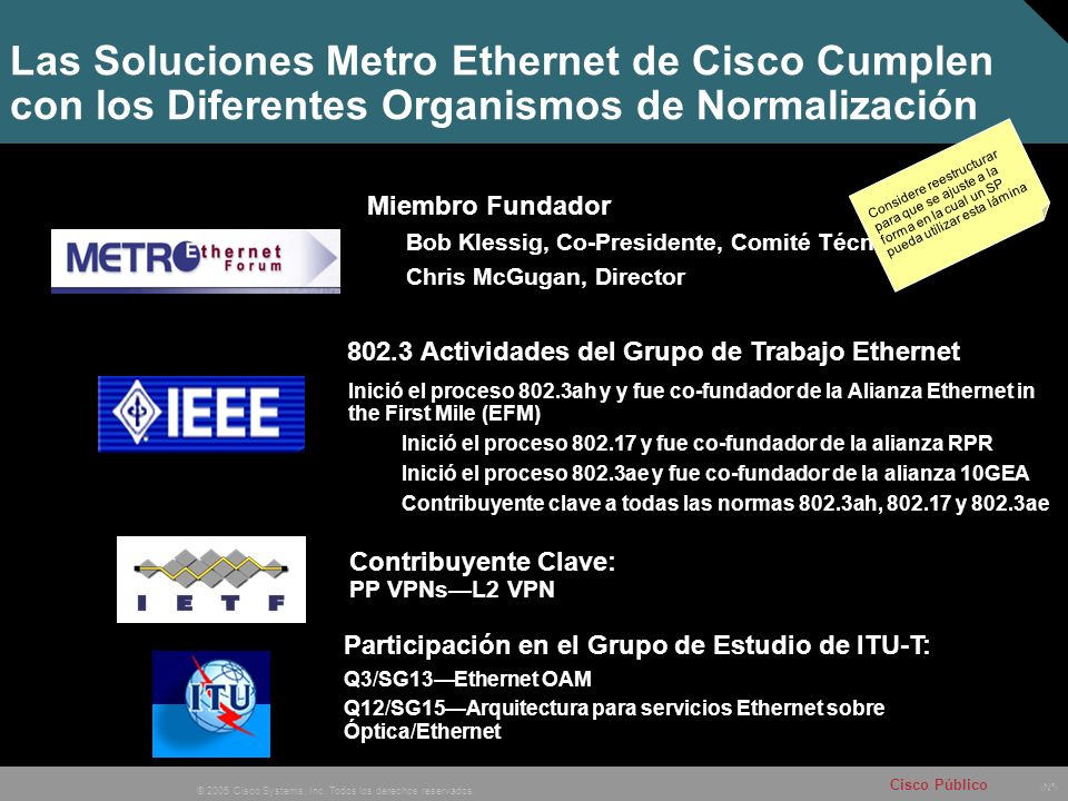 Las Soluciones Metro Ethernet de Cisco Cumplen con los Diferentes Organismos de Normalización