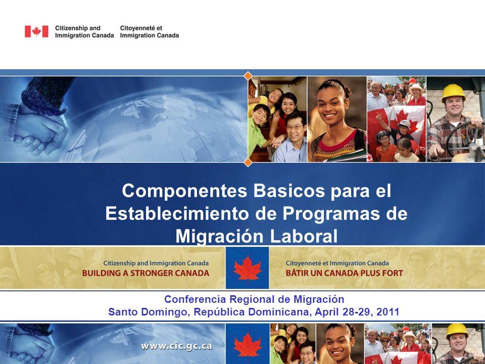1 Componentes Basicos para el Establecimiento de Programas de Migración Laboral. Conferencia Regional de Migración.