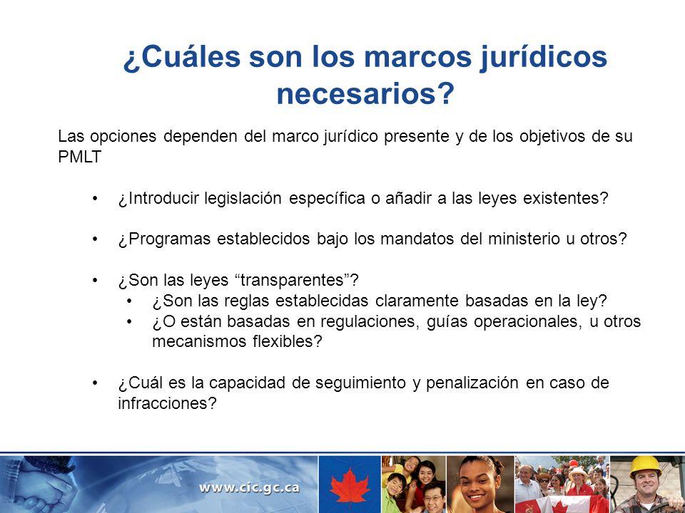 ¿Cuáles son los marcos jurídicos necesarios