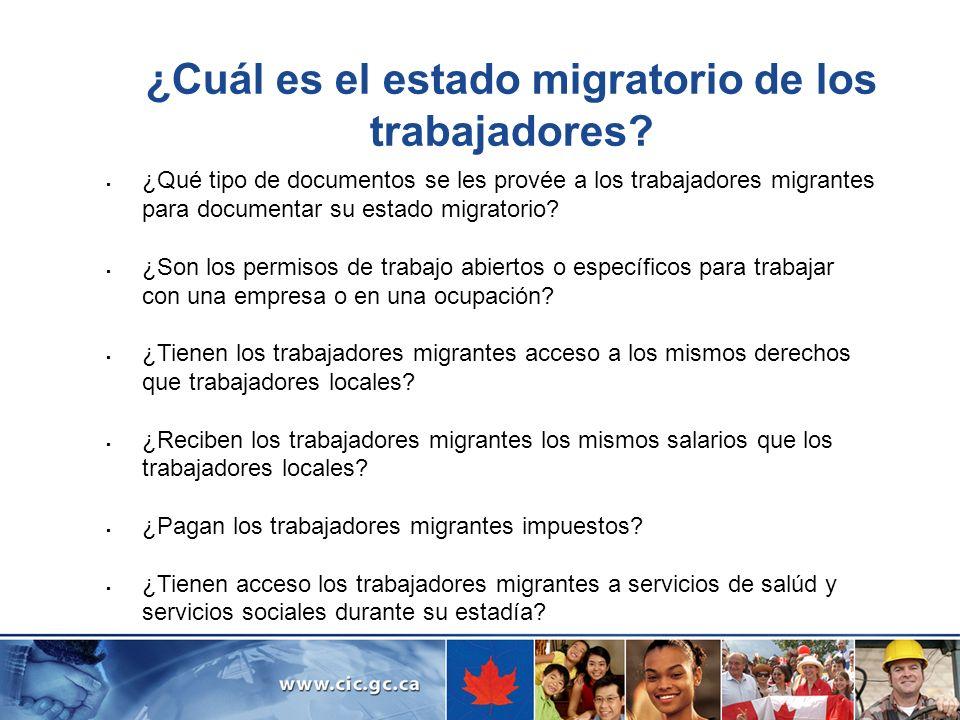 ¿Cuál es el estado migratorio de los trabajadores