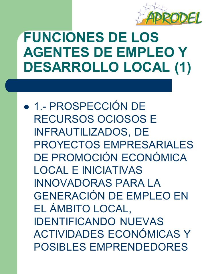 FUNCIONES DE LOS AGENTES DE EMPLEO Y DESARROLLO LOCAL (1)